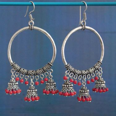 Indian earrings red round Jhumki jewel