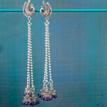 Indian earrings purple long Jhumki jewel