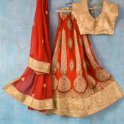 Indian skirt Lehenga with Chuni red and golden