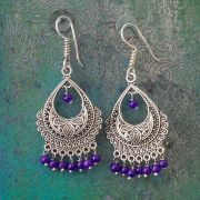 Indian earrings purple bohemian jewel