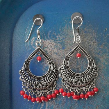 Indian earrings red bohemian jewel