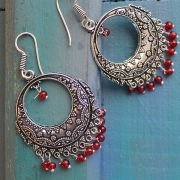 Indian earrings red Rajasthani jewel