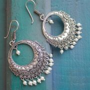 Indian earrings white Rajasthani jewel