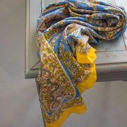 Indian coton scarf square yellow and blue