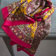 Indian coton scarf square maroon and yellow