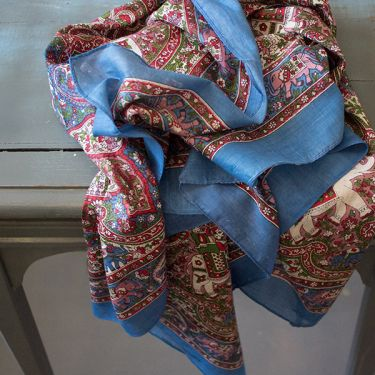 Indian coton scarf square blue and red