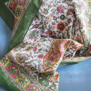 Indian coton scarf square green and white
