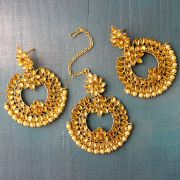 Indian traditional jewelry set Kundan golden