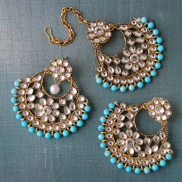 Indian traditional jewelry set Kundan blue