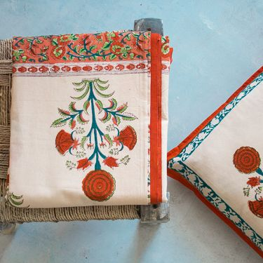Indian printed bedcover + pillow Orange and white