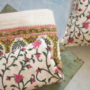 Indian printed bedsheet + pillow Pink and green