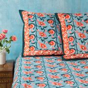 Indian printed bedsheet + pillow Blue and pink