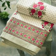 Indian printed bedsheet handicraft flowers pink