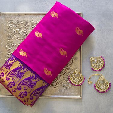 Indian saree art silk magenta color