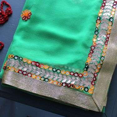 Indian traditional saree green color