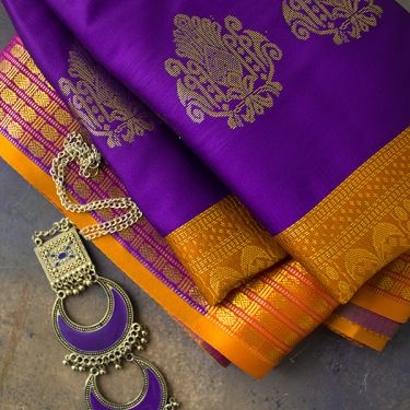 Indian saree art silk purple color