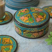 Coasters Indian paper mache round blue x6