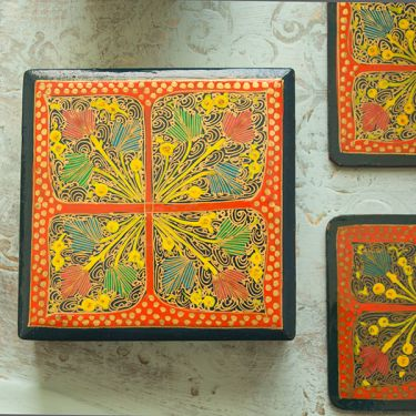 Indian paper mache coasters square orange x6