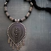 Indian ethnic metal and cotton necklace