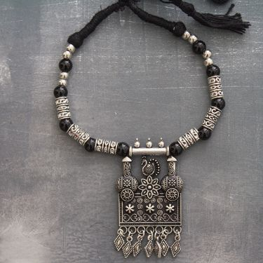 Indian tribal metal and cotton necklace square
