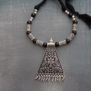 Indian tribal metal and cotton necklace triangle