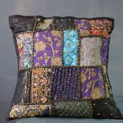 Indian cushion cover Patchwork black L40