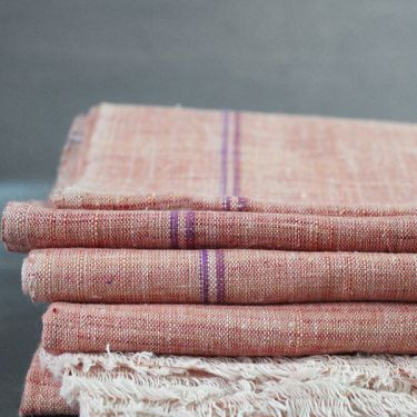 Indian Khadi handicraft towel peach