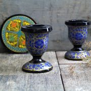 Candle holder Indian paper mache blue color