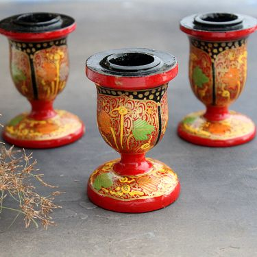 Candle holder Indian paper mache red color