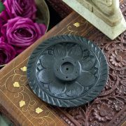 Indian marble incense sticks stand round black