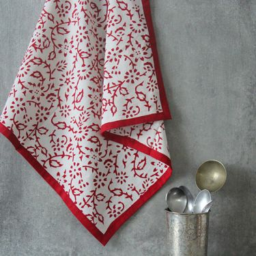 Indian handicraft kitchen towel or napkin maroon and white