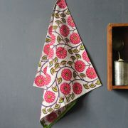 Indian handicraft kitchen towel or napkin pink and green