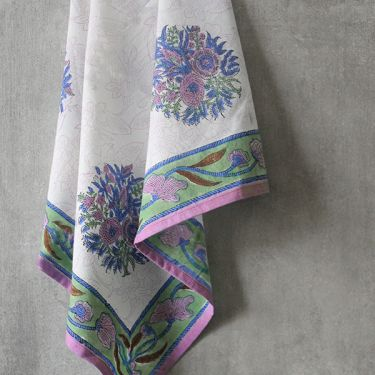 Indian handicraft kitchen towel or napkin purple and white