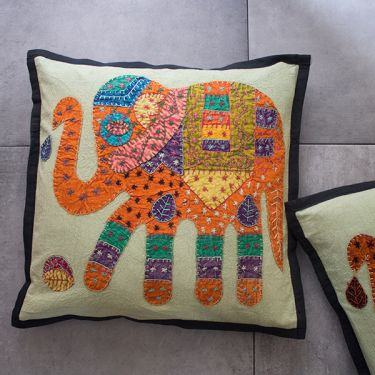 Indian cotton Cushion cover Elephant black L42