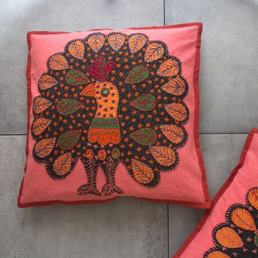 Indian cotton cushion cover Peacock Pink L41