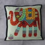 Indian cotton Cushion cover Elephant red L42