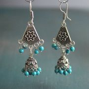 Indian ethnic earrings Jhumki blue