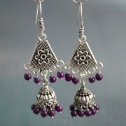Indian ethnic earrings Jhumki purple