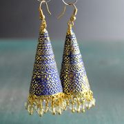 Indian tribal earrings Jhumki gold and blue