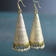 Indian tribal earrings Jhumki gold and white