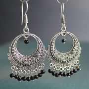 Indian earrings black Rajasthani jewel