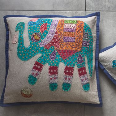 Indian cotton Cushion cover Elephant blue L42