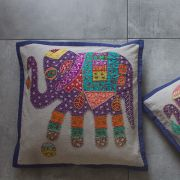 Indian cotton Cushion cover Elephant purple L42