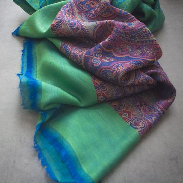 Indian Jamawar cotton scarf green and purple