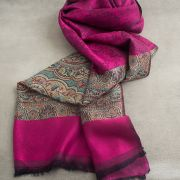 Indian Jamawar cotton scarf pink