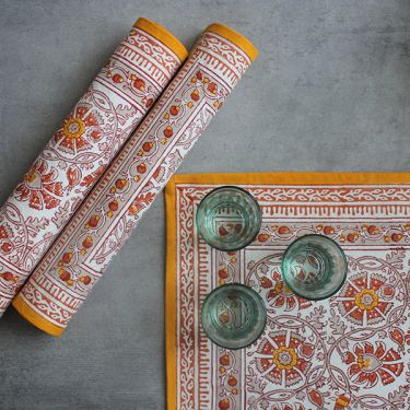 Indian printed cotton table mat yellow color
