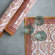 Indian printed cotton table mat brown color