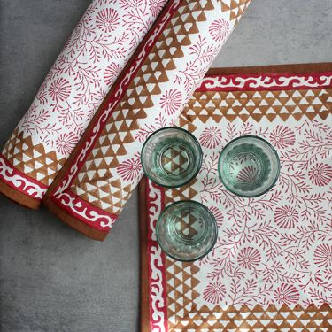 Indian printed cotton table mat maroon color