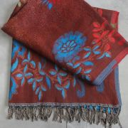 Nepalese woolen shawl traditional brown and blue