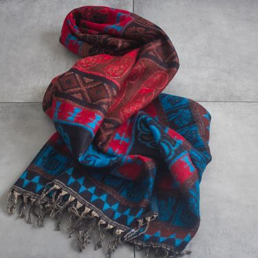 Nepalese woolen shawl traditional black and blue